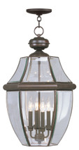 LIVEX Lighting 2357-07 Monterey Outdoor Chain Lantern in Bronze (4 Light)