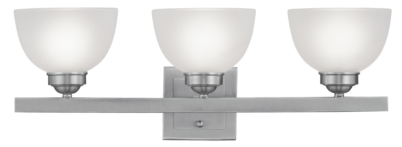Livex Oldwick Modern Brushed Nickel 3 Light Bathroom: LIVEX Lighting 4203-91 Somerset Bath Light In Brushed