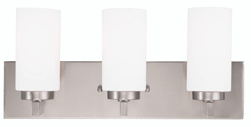 Livex Oldwick Modern Brushed Nickel 3 Light Bathroom: LIVEX Lighting 16373-91 West Lake Bath Light In Brushed