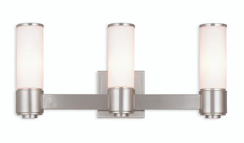 Livex Oldwick Modern Brushed Nickel 3 Light Bathroom: LIVEX Lighting 52123-91 Weston Contemporary ADA Wall