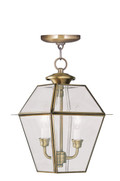 LIVEX Lighting 2285-01 Westover Outdoor Chain Lantern in Antique Brass (2 Light)