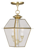 LIVEX Lighting 2285-02 Westover Outdoor Chain Lantern in Polished Brass (2 Light)
