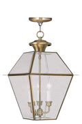 LIVEX Lighting 2385-01 Westover Outdoor Chain Lantern in Antique Brass (3 Light)