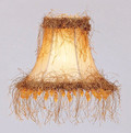 LIVEX Lighting S112 Champagne Silk Bell Clip Shade with Light Corn Silk Fringe and Beads