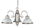 Sunset Lighting F5503-53 3 Light Satin Nickel Chandelier with Faux Alabaster Glass