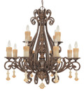 Classic Lighting 71158 TS Riviera Wrought Iron Chandelier in Tortoise Shell
