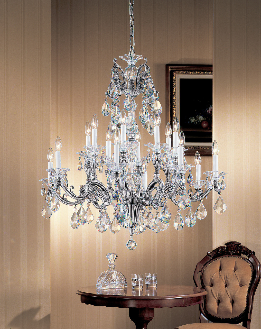 Classic Lighting 57116 MS CSA Via Firenze Crystal Chandelier in Millennium  Silver (Imported from Spain)