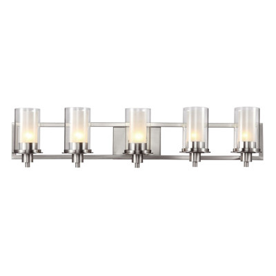 """Odyssey 37.75"""" Indoor Brushed Nickel Contemporary Vanity Bar with Modern Double Glass Shade"""