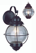"Catalina 13.5"" Outdoor Rustic Bronze Nautical Wall Lantern with Round Seeded Glass Design"