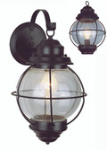 "Catalina 19"" Outdoor Rustic Bronze Nautical Wall Lantern with Round Seeded Glass Design"