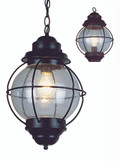 "Catalina 19"" Outdoor Rustic Bronze Nautical Hanging Lantern with Round Seeded Glass Design"