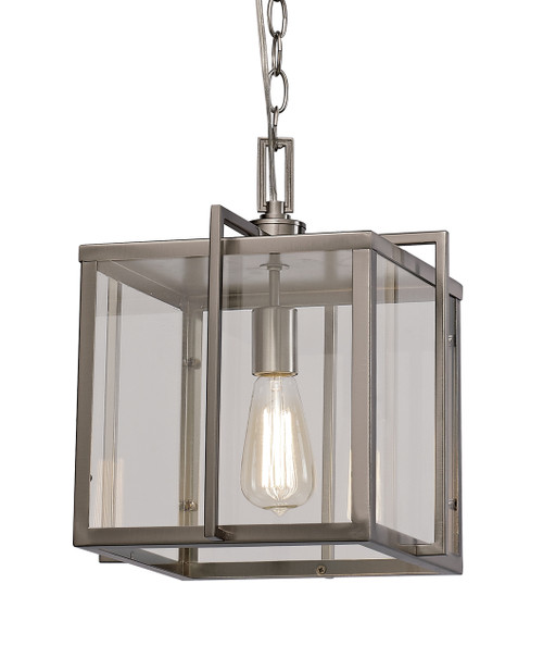 "Eastwood 12"" Indoor Brushed Nickel Industrial Pendant with Open Box Contemporary Design"
