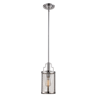 "Mist 6"" Indoor Polished Chrome Industrial Pendant with Curved Mesh Shade"