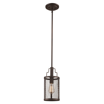 "Mist 6"" Indoor Rubbed Oil Bronze Industrial  Pendant with Curved Mesh Shade"