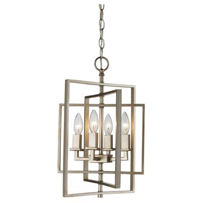 "El Capitan 14"" Indoor Antique Silver Leaf Industrial Pendant with Intricate Metal Design"