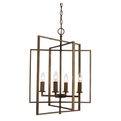 "El Capitan 20"" Indoor Antique Gold Industrial Pendant with Intricate Metal Design"