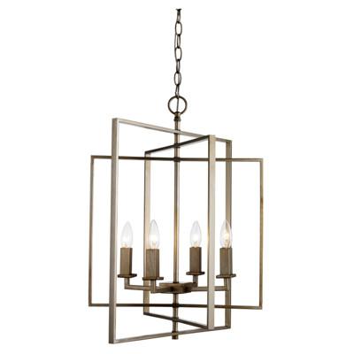 "El Capitan 20"" Indoor Antique Silver Leaf Industrial Pendant with Intricate Metal Design"