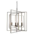 "El Capitan 26"" Indoor Antique Silver Leaf Industrial Pendant with Intricate Metal Design"