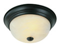 "Browns 15"" Indoor Rubbed Oil Bronze Traditional Flushmount with Frosted White Shade"