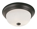 "Bowers 13"" Indoor Rubbed Oil Bronze Traditional Flushmount with Minimalist Design and White Frost Shade"