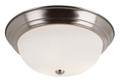 "Bowers 15"" Indoor Brushed Nickel Traditional Flushmount with Minimalist Design and White Frost Shade"