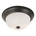 "Bowers 15"" Indoor Rubbed Oil Bronze Traditional Flushmount with Minimalist Design and White Frost Shade"