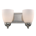"Clayton Collection 14"" Indoor Brushed Nickel Traditional Vanity Bar with Marbalied Glass and Matching Oval Wall Plate"