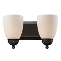 "Clayton Collection 14"" Indoor Rubbed Oil Bronze Traditional Vanity Bar with Marbalied Glass and Matching Oval Wall Plate"