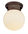 "Dash 6"" Indoor Rubbed Oil Bronze Traditional Flushmount with Opal Glass Globe Shade"