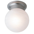 "Dash 6"" Indoor Brushed Nickel Traditional Flushmount with Opal Glass Globe Shade"