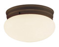 "Dash 8"" Indoor Rubbed Oil Bronze Traditional Flushmount with Opal Glass Globe Shade"