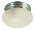 "Dash 8"" Indoor Brushed Nickel Traditional Flushmount with Opal Glass Globe Shade"