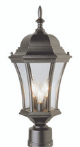"Burlington 21.25"" Outdoor Black Postmount Lantern with Traditional Coach Design"