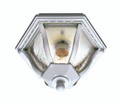 "Bostwick 8.75"" Outdoor White Traditional Flushmount Lantern with Clear Seeded Glass and Metal Frame"
