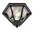 "Bostwick 8.5"" Outdoor Black Traditional Flushmount Lantern with Clear Seeded Glass and Metal Frame"