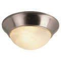 "Athena 12"" Indoor Brushed Nickel Contemporary Flushmount with a Marbleized Glass Shade"