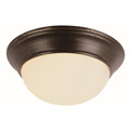 "Athena 12"" Indoor Rubbed Oil Bronze Contemporary Flushmount with a Marbleized Glass Shade"