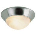 "Athena 14"" Indoor Brushed Nickel Contemporary Flushmount with a Marbleized Glass Shade"