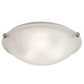 "Constellation 16"" Indoor Brushed Nickel Transitional  Flushmount with Wide Dish Glass Shade and Matching Clips"