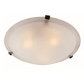 "Cracka 12"" Indoor Rubbed Oil Bronze Transitional  Flushmount with Marbelized Glass Shade and Matching Clips"