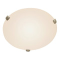 "Cullen 12"" Indoor Brushed Nickel Contemporary Flushmount with Wide Dish Glass Shade for Soft Lighting"