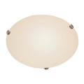 "Cullen 15"" Indoor Brushed Nickel Contemporary Flushmount with Wide Dish Glass Shade for Soft Lighting"