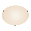 "Cullen 20"" Indoor Brushed Nickel Contemporary Flushmount with Wide Dish Glass Shade for Soft Lighting"