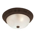 "Del Mar 11"" Indoor Rubbed Oil Bronze Traditional Flushmount with Frosted Leaf Pattern Shade"