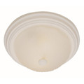 "Del Mar 13"" Indoor Antique White Traditional Flushmount with Frosted Leaf Pattern Shade"