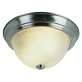 "Del Mar 13"" Indoor Brushed Nickel Traditional Flushmount with Frosted Leaf Pattern Shade"