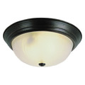 "Del Mar 13"" Indoor Rubbed Oil Bronze Traditional Flushmount with Frosted Leaf Pattern Shade"