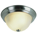 "Del Mar 15"" Indoor Brushed Nickel Traditional Flushmount with Frosted Leaf Pattern Shade"