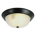 "Del Mar 15"" Indoor Rubbed Oil Bronze Traditional Flushmount with Frosted Leaf Pattern Shade"