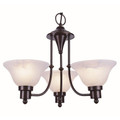 "Perkins Perkins 18.5"" Bronze Modern Chandelier with Marbelized Glass Shades"